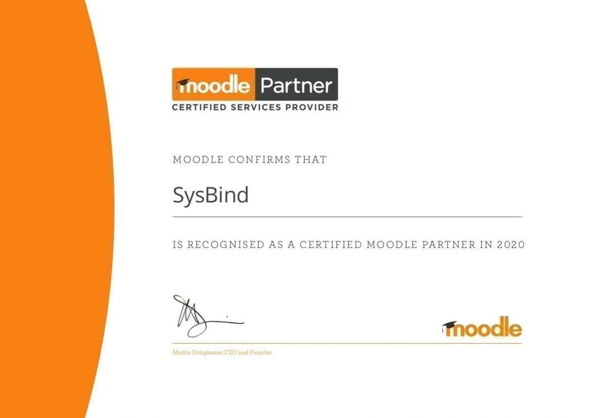 SysBind Moodle Partner Certificate